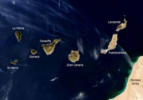La Kanariaj Insuloj vidita el satelite